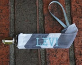 Boy Pacifier Clip, Grey and Blue, Personalized Soothie Strap