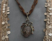 Vintage large jewelledand beaded pendant statement necklace ajustable 22inches