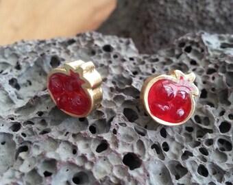 Red Pomegranate Earrings, Gold Earrings, Stud Earrings, Resin Jewelry