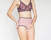 Comfortable lingerie set. Lilac / Plum sheer soft bra with panties.