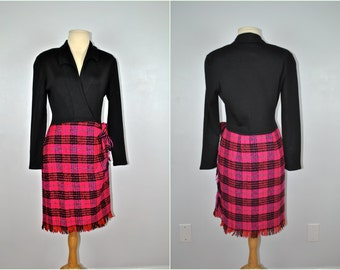 Vintage Tartan Dress, Vintage Dress With Plaid Skirt