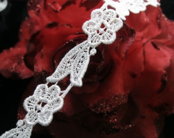 DN091-2cm White flowers  Venise Embroidered Tulle Mesh lace by Yard
