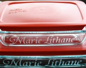4 Pc. Personalized Bakeware Set: TWO Custom Etched Pyrex Baking Dishes with Lids (7x11 option)