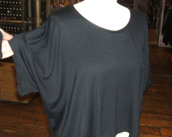 Baylis & Knight Black Oversized Crop Top T Shirt 80's Retro Vintage Over Size Relaxed