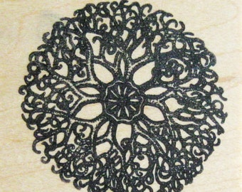 Rose Window Abstract Papercraft Rubber Stamp Wood Mount Destash Art Craft SupplyScrapbooking Collage Stamping Supply Good Stamps Stamp Goods
