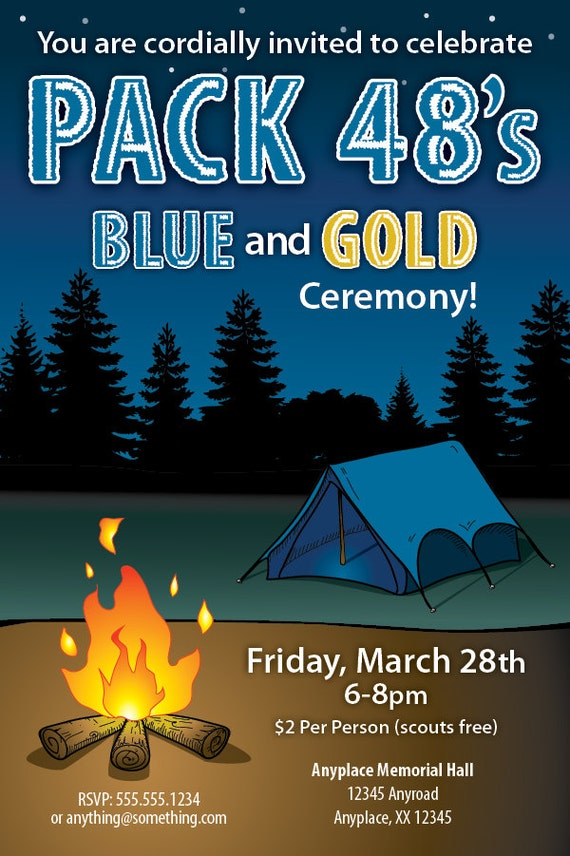cub scout blue and gold program template - items similar to boy scouts blue and gold ceremony invite