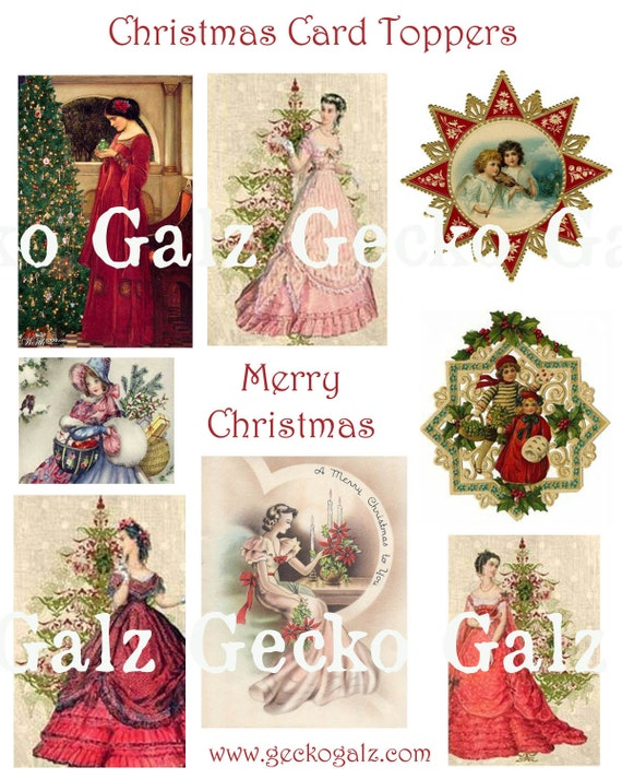 CHRISTMAS CARD TOPPERS digital collage sheet