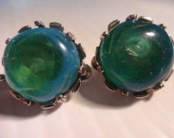 Vintage Sterling Silver Nettie Rosenstein Art Glass Earrings
