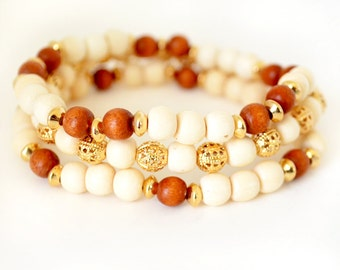 Gold and Wood Bracelet Set, Wood Jewelry, Gold Jewelry, Gold Bracelet, Gold and Cream