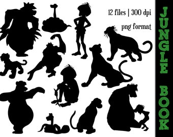 The Jungle Book Silhouettes // Baloo, Kaa, Mowgli, Shere, King Louie, Bagheera Silhouette // Disney Clipart // Jungle Book Silhouettes