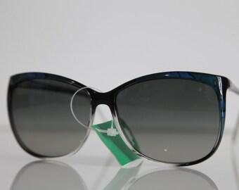 Vintage Polaroid Crystal, Black,  Blue, Green Frame, Polarizing Lenses CLASSIC 8750C. Made in Italy