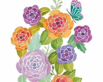SALE - Wonderful Blooms - Archival Watercolor Art Print