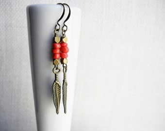 Feather Earrings, Brass Dangle Earrings with Coral Red Beads, Boho Jewelry, Beadwork