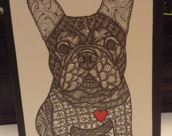 Zentangle Inspired French Bulldog Note Card, French Bulldog Print, Love Card