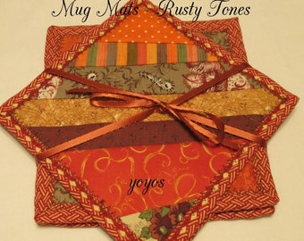 MUG MATS Rusty Tones Set of Four Home Country Cottage Chic Charming Décor Hostess Gift Stocking Stuffer
