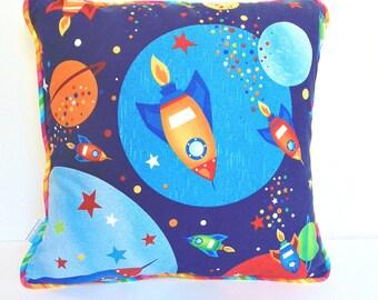 Rocketship Pillow , Spaceships Pillow , Boys Playroom Pillow , 14 Inch Pillow , Spaceship Decor