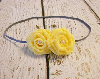double rolled chiffon flowers on skinny elastic-yellow-newborn to adult