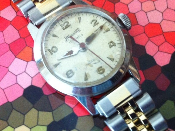 Heyworth Ladies Women's Watch / 17 Jewel Watch 1950's / Stainless Steel with Red Sweep Second Hand
