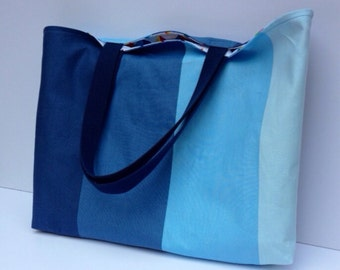 Blue ombre tote bag with nylon straps