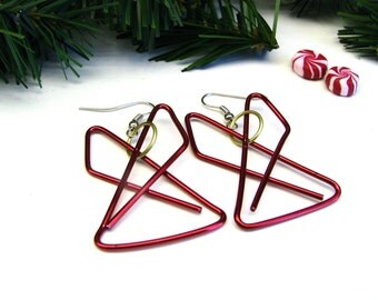 Angel Earrings - Christmas Angel Earrings - Stocking Stuffer Earrings, Paper Clip Angels, Found Object Earrings - Red Angel Earrings