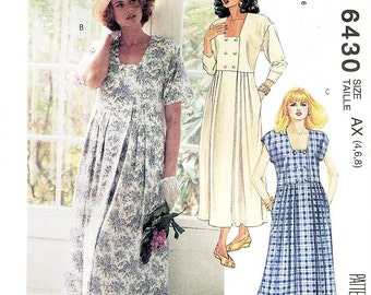 Sz 4/6/8 - McCalls Dress Pattern 6430 - Misses' Double Breasted One-Piece Dress