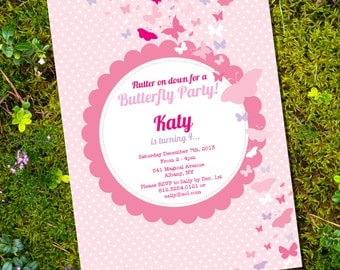 Pink Butterfly Party Invitation - Instantly Downloadable and Editable File - Personalize at home with Adobe Reader