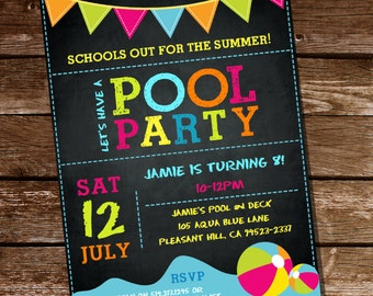 Summer Pool Party Invitation - Schools Out - Instantly Downloadable and Editable File - Personalize at home with Adobe Reader