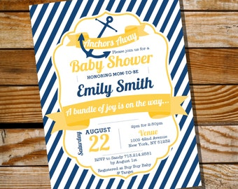 Nautical Baby Shower Invitation - Unisex Baby Shower - Instantly Downloadable and Editable File - Personalize at home with Adobe Reader