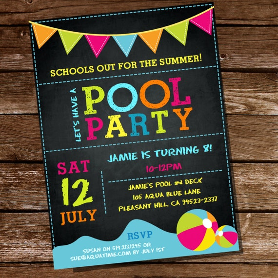 Summer Pool Party Invitation Schools Out Instantly