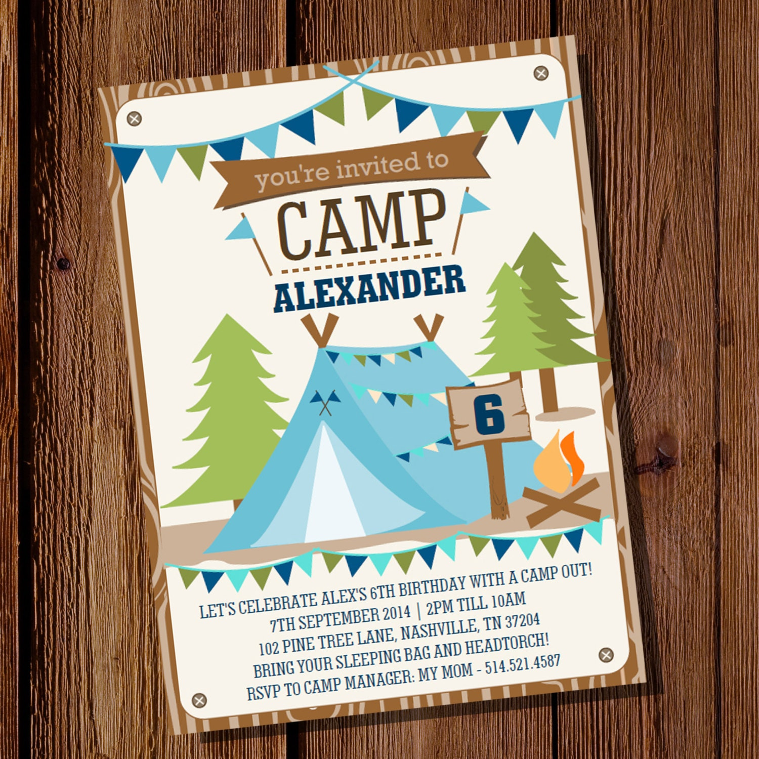camping party invitation for a boy backyard campout summer