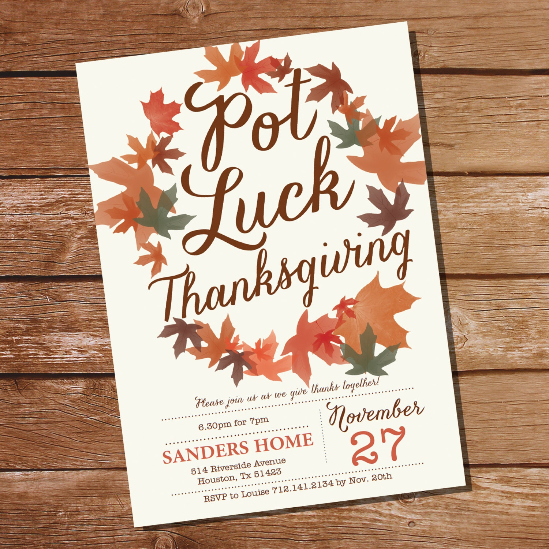 pot luck thanksgiving invitation thanksgiving invitation
