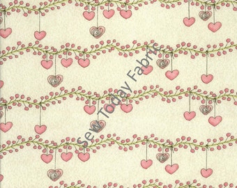Hearts on Vines Cream - Bird Wise Collection - Studio E Fabrics - 2781-40 (sold by the 1/2 yard)