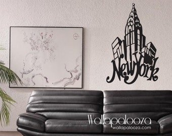 New York Wall Decal - New York Decal - New York wall art - New York wall decor - New York New York - New York skyline - city - wall art