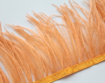 Apricot Ostrich Feather Fringe / 10cm for craft fascinator hairpiece hat