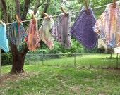 A Half  Dozen Random Hand Knit Dish Cloth or Wash Cloth in Cotton Yarn