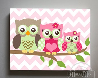 Owl Decor Girls wall art - Owl canvas art - Owl Nursery - Owl Childrens Art - Childrens Room -Nursery wall art