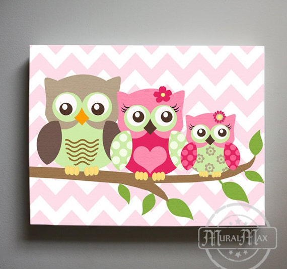 Owl decor girls wall art owl canvas art owl nursery owl - Girl owl decor ...