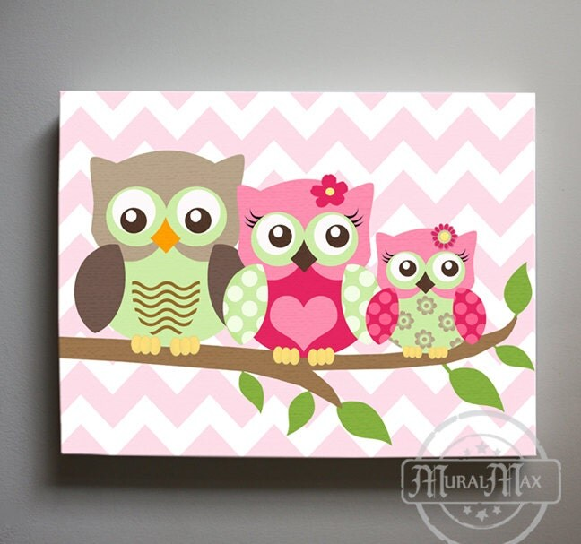 owl decor girls wall art owl canvas art owl nursery owl. Black Bedroom Furniture Sets. Home Design Ideas