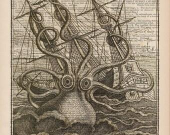 Kraken Octopus Illustration, Octopus Print, Nautical Art, Octopus Dictionary Page Art, Octopus Art, Digital Illustration, Giclee Print