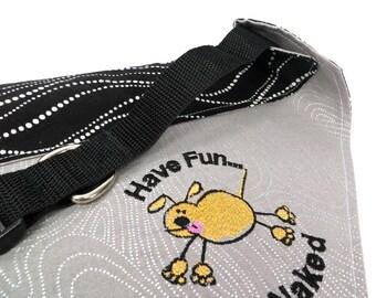 Embroidered Dog Bandana, Run Naked Dog Bandana, Over the Collar Dog Bandana Complete with Collar