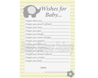 Yellow and Grey Elephant Baby Shower Game, Wishes for Baby, Yellow and Grey Chevron Elephant Theme Baby Shower Game, Printable Elephant Game