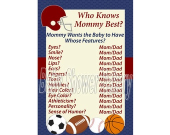 Sports Theme Baby Shower Game, Football Theme Baby Shower Game, Printable Sports Baby Shower Game, Boy Who Knows Mommy Best Shower Game