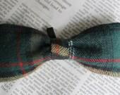 Green Plaid Dog Bow-tie