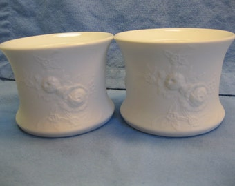 Matte White Kaiser of Germany Porcelain Candle Holders with Flowers in Relief