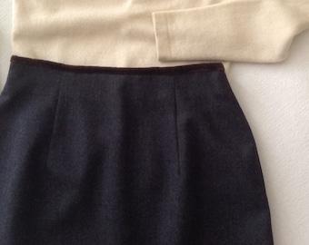 Vintage gray wool skirt / Brooks Brothers / short wool skirt / preppy skirt / mid century office attire