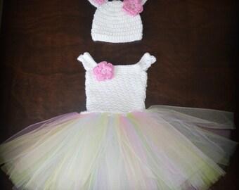 Crochet Easter Bunny Baby Tulle Tutu Dress & Matching Hat Photo Prop Custom Made Boy Girl Costume