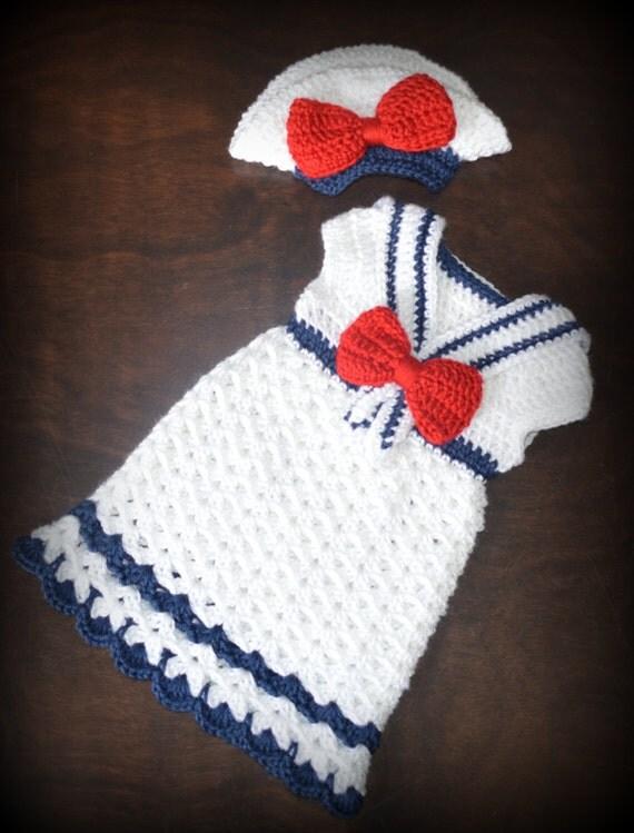 Free Crochet Pattern For Sailor Hat : Crochet Sailor Hat & Matching Dress Nautical Photo Prop Custom
