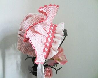 Baby Bonnet, Baby Hat, Infant Bonnet, Pink Bonnet, Size Small, Three Months