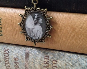 Steampunk Necklace Victorian Fairy Oval Pendant Edwardian Photograph OOAK Jewelry Gifts Under 10