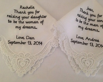 Set of two mother of the bride mother of the groom personalized handkerchiefs hankie handkerchief